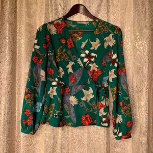 Dalia Green Floral Wrap Blouse